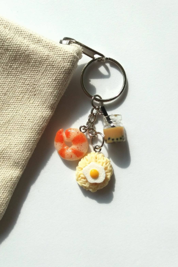 Ramen noodles fried egg with Prawn and bubble milk tea keychain, funny keychain, miniature food keychain