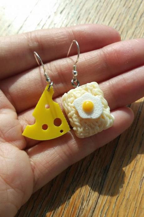 Cheese and fried egg instant ramen noodles earrings, funny earrings, Sliver 925 earrings