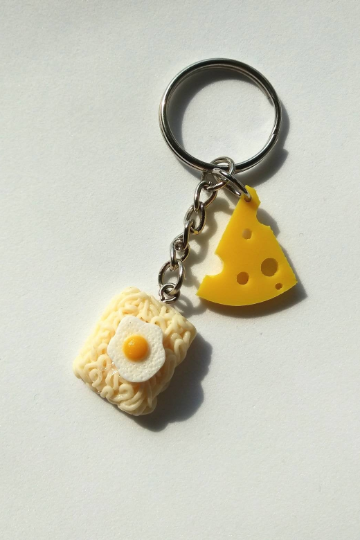 Cheese and Ramen noodles fried egg keychain, funny keychain, miniature food keychain