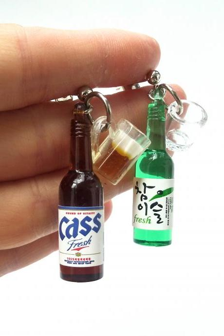 Korean soju bottle and Korean beer brand 'Cass' bottle earrings// Korean drink bottle earrings// Sliver 925 earrings