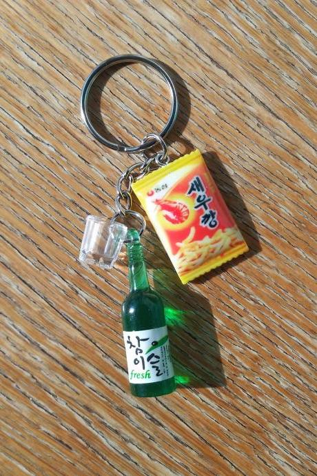Korean Soju bottle with soju shot glass and Korean shirmp flavoured crackers keychain, drink bottle keychain, funny Keychain