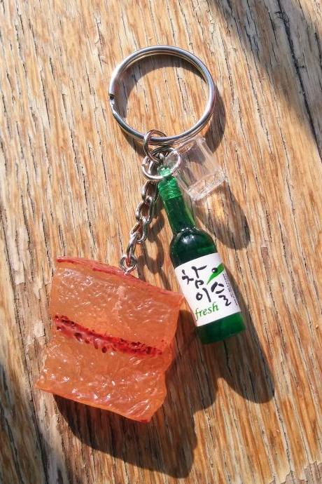 Korean BBQ keychain, Korean soju bottle with shot glass and grilled pork belly keychain, funny keychain, food and