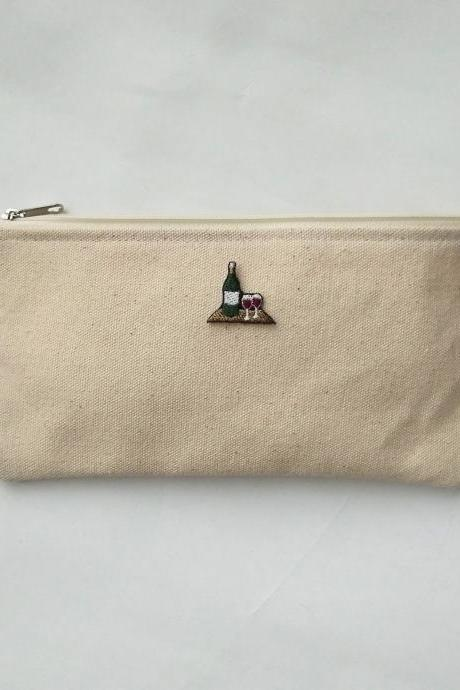 Cozy afternoon drinking zipper pouch, Cotton pouch, Make-up pouch, pencils pouch