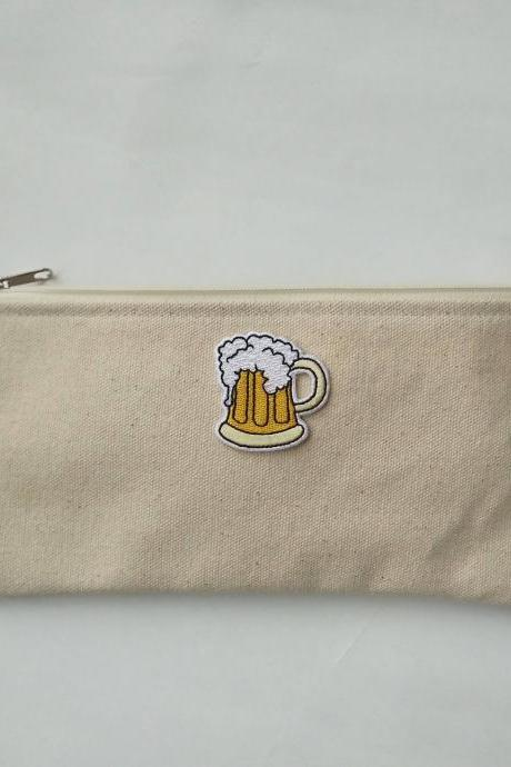 Beer mug zipper pouch, cotton pouch, make-up pouch, pencils pouch