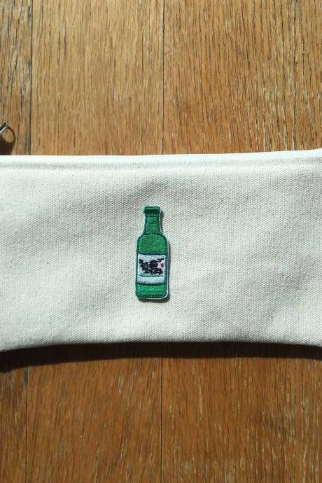 Korean Soju bottle zipper pouch, Cotton pouch, Make-up pouch, pencils pouch, Soju patch pouch
