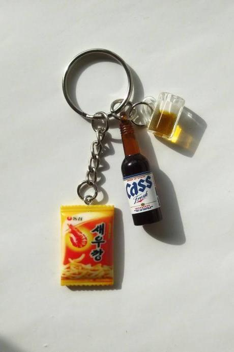 Beer & snack>>>Korean Cass beer bottle with mug of beer and Korean shirmp flavoured crackers keychain, drink bottle keychain, funny Keychain