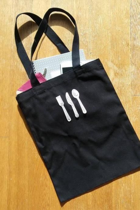 Fork knife spoon cutlery cotton eco tote bag, canvas tote bag, book bag ( Black/ White)
