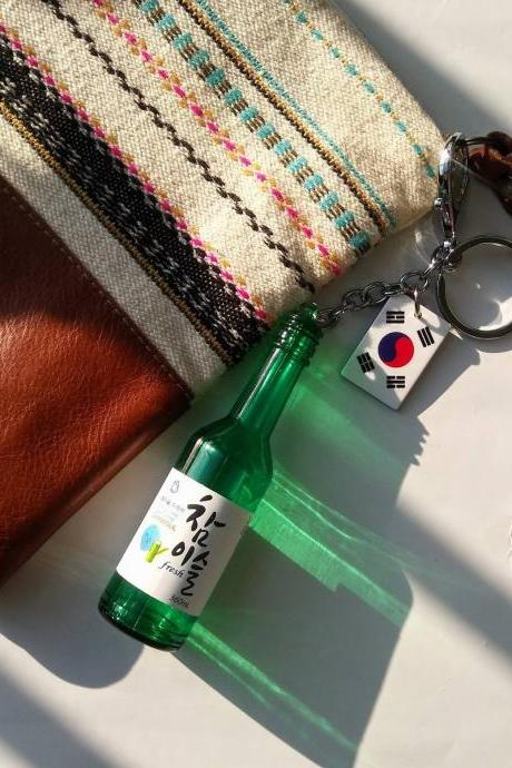Korean Soju drink bottle large keychain, Soju keychain, drink bottle keychain, cute keychain