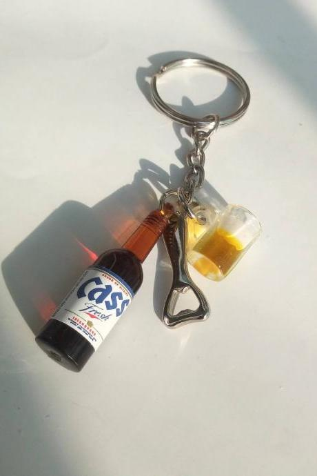 Korean 'Cass' beer bottle with bottle opener and beer mug keychain, drink bottle keychain, food and drink