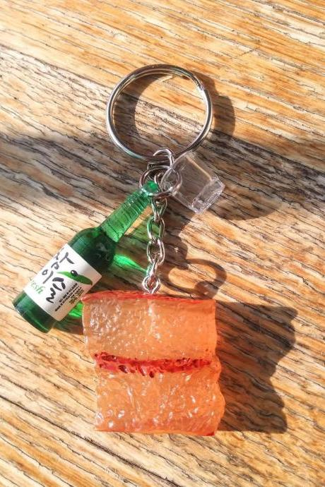 Korean BBQ keychain, Korean soju bottle with shot glass and grilled pork belly keychain, funny keychain, food and drink