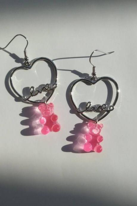 Available in 6 colour Gummy bear with LOVE heart drop earrings, Multi-colour gummy bear earrings